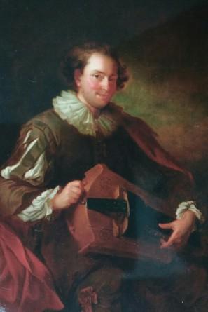 Personnage de qualité jouant de la vielle, Alexis Grimou, 1730