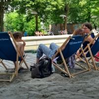 'Kulturstrand' am Vater-Rhein-Brunnen