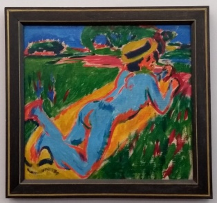 Ernst Ludwig Kirchner, Liegender blauer Akt mit Strohhut