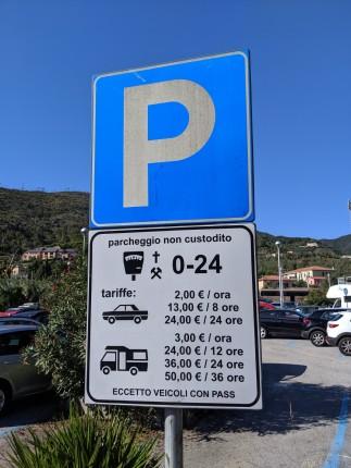 Die Parkgebühren am Bahnhof in Levanto...