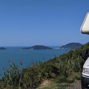 Blick auf Portovenere, Isola Palmaria und Isola del Tinetto